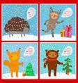cute animals set greeting card vector image vector image