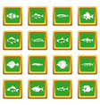 cute fish icons set green vector image vector image