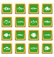 cute fish icons set green vector image