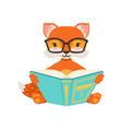 cute orange fox character sitting and reading a vector image vector image