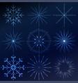 decorative crystal snowflakes set - winter vector image vector image