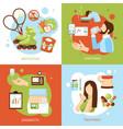 diabetes symptoms concept 4 flat icons vector image vector image