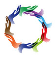 diversity hands circle background vector image vector image