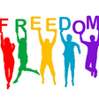Freedom concept with people jumping silhouettes vector image