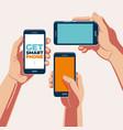 get smartphone in hand vector image