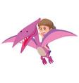 girl riding flying dinosaur vector image