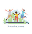 group three young friends jumping vector image vector image
