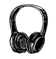 hand drawn of headphones on white background vector image vector image