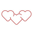 hearts outline icon vector image vector image