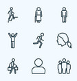 human outline icons set collection of team head vector image vector image