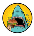 hungry shark eat burger vector image