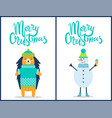 merry christmas snowman on vector image vector image