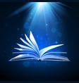 open magic book on blue background fantasy light vector image