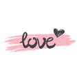pink love sign with heart isolated on white vector image