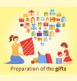 preparation gift present box for xmas vector image vector image