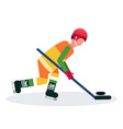professional ice hockey player holding stick vector image vector image