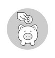 putting coin in piggy bank icon saving money vector image