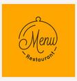 restaurant menu logo round linear tray cloche vector image vector image