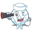 Sailor with binocular volley ball character vector image
