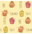 Seamless pattern with cupcake vector image vector image