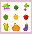 set of cartoon vegetables vector image