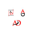 set of initial letter ad logo template
