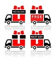 Set of truck red icons vector image