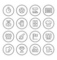 set round line icons soccer vector image vector image