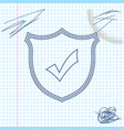 shield with check mark line sketch icon isolated vector image vector image