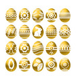 silhouettes of golden easter eggs isolated vector image