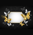 straight banner with golden butterflies vector image