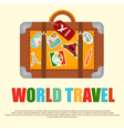 Suitcase with Stickers Travel Around the World vector image vector image