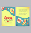 summer vacation people beach and sea in vintage vector image vector image