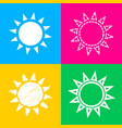sun sign four styles of icon on four vector image vector image