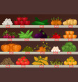 vegetables at market showcase or shop stall vector image
