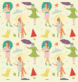 vintage fashion seamless pattern faceless women vector image