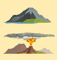 volcano magma nature blowing up with smoke vector image vector image