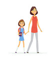 walk to school- modern people characters vector image