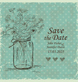 Wedding invitation with mason jar and camomile vector image vector image