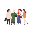 women in fall season fashionable outfits flat vector image