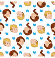 seamless pattern with smiling boy and girl vector image