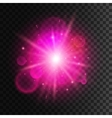 Star light with pink neon lens flare effect vector image