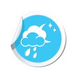 Weather forecast clouds moon and raindrops icon vector image