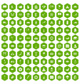 100 asian icons hexagon green vector image