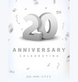 20 years silver number anniversary celebration vector image vector image