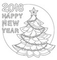 2018 happy new year black and white poster vector image
