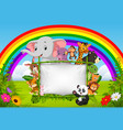animal standing on a bamboo frame with rainbow vector image vector image