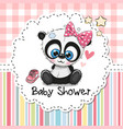 baby shower greeting card with cartoon panda girl vector image vector image