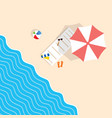 beach stuff with deckchair and umbrella leisure vector image vector image