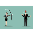 Blindfold business woman aiming to shoot at apple vector image vector image